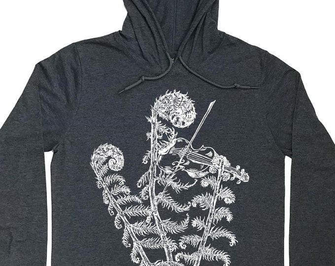 Hoodies for Men - Fiddle Head Tshirt Hoody - Mens Gift - Violinist Gift - Plant Hoodie - Funny Hoodie - Graphic Print Hoodies - Cool Unique