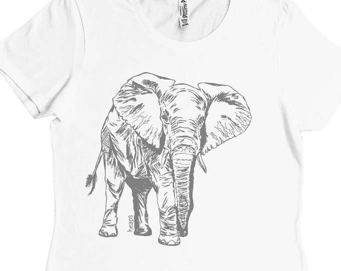 Woman T shirt - Regular Fit Tee - Elephant Tshirts - African Animals - White TShirt - Summer Tops - Gift for Woman - African Clothing