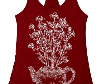 Chamomile Plant Tea Pot Tank Top for Women - Nature Inspired Plant Tshirt - Womens Tank Tops - Tea Drinker - Funny Tank Tops - Hand Drawn