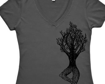 Womens Yoga T Shirt V-neck - Tree Pose Tshirt - Yoga Lover Tshirt - Women's Exercise Shirt - Yoga Tshirts for Women - Funny Camping Shirt
