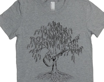 Womens Guitar T Shirt - Acoustic Guitar Shirt - Music Lovers Gift - Bluegrass T Shirt - Country Music Shirt - Weeping Willow - Womens Tee