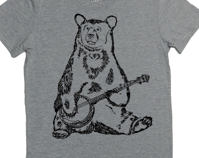 Music Teacher Gift | T Shirt for Women | Banjo Bear Womens Tshirt | Funny Tops for Women | Cool TShirt | Hipster Clothing | Trendy Clothes