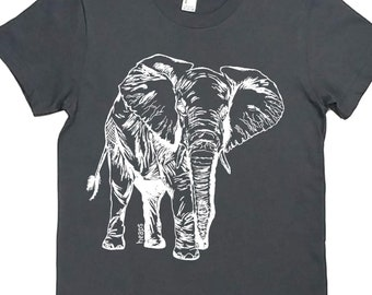 Womens TShirt - Elephant Womens Tee - African TShirts - Womens Animal Shirts - Cute Tshirts - Gift for Women - Best Friend Gift - Grey Tees