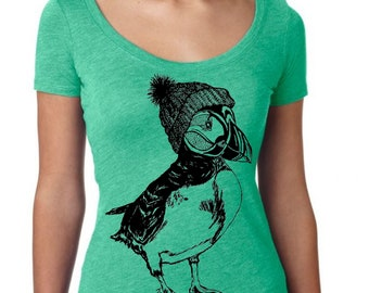Womans Scoop Neck Shirt - Puffin T Shirt - Funny Graphic Shirts - Gift for Wife - Green Triblend Tee