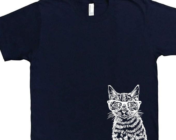 Mens T Shirt - Hipster Cat T Shirt - Animal Tee - Funny T Shirts - Graphical Hipster Tees - Mens Cat Tee Shirt - Nerdy T-Shirts S M L XL XXL