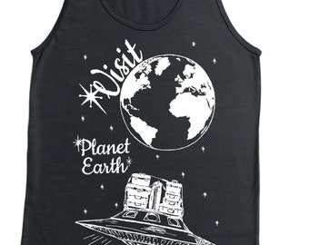 Mens Tank Tops - UFO Tank Top - Funny Mens Tank Tops - Space Alien Graphic Tanks Tops -  Hipster Tank - Travel Vacation Sci Fi Planet Earth