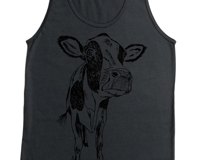 Animal Tank Tops for Men - Funny Tank Tops - Cow Shirts - Tshirts for Guys - Sleeveless Shirts - Cotton Polyester Tshirts - American Apparel
