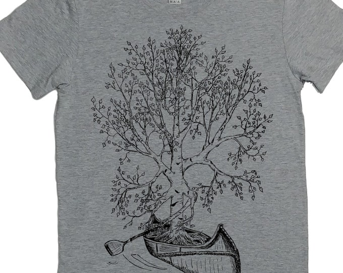 Canoeing T Shirt for Women - Gift for Women - Canoe Tshirt - Tree T Shirt - Birch Bark Canoe - Canoe Gift - Funny Canoeing Tees S M L XL 2XL