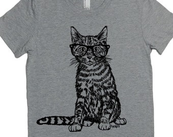 Woman T Shirt - Cat TShirt - Hipster Clothing -Cat with Glasses Tshirt - Gift for Women - Funny Tshirts - Women Graphic Tee