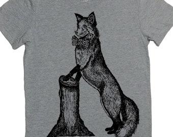 Womens TShirts - Bowtie Fox Womens Shirt - Cool TShirts - Hipster Clothing - Grey Tshirts - Gift for Women - Best Friend Gift - Women's