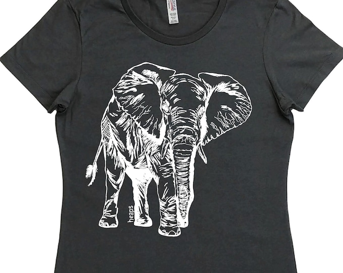 Funny T Shirts for Women - Regular Fit Tee - Elephant TShirt - Wild Animal Tshirts - Woman Graphic Tees - Girlfriend Gifts - African Clothes