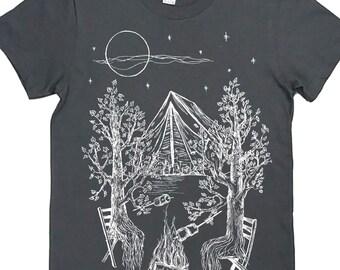 Nature T-Shirt, Campfire Shirt, Screen Printed T Shirt, Clothing Gift, Nature Lover Gift, Soft Tee, Womens Camping Tee - Camping Gift