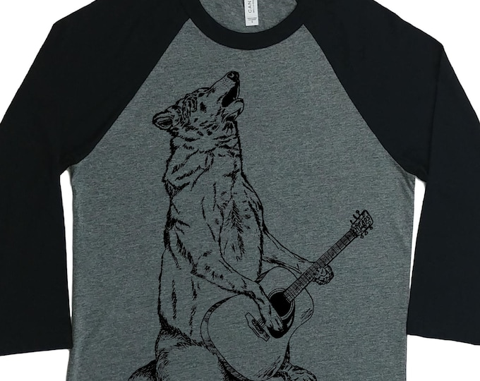 Womens Baseball TShirt - Unisex Fit - Raglan TShirts for Women - Graphic Tee - Wolf Playing Guitar Shirt - Musician Tshirt - Musician Gift