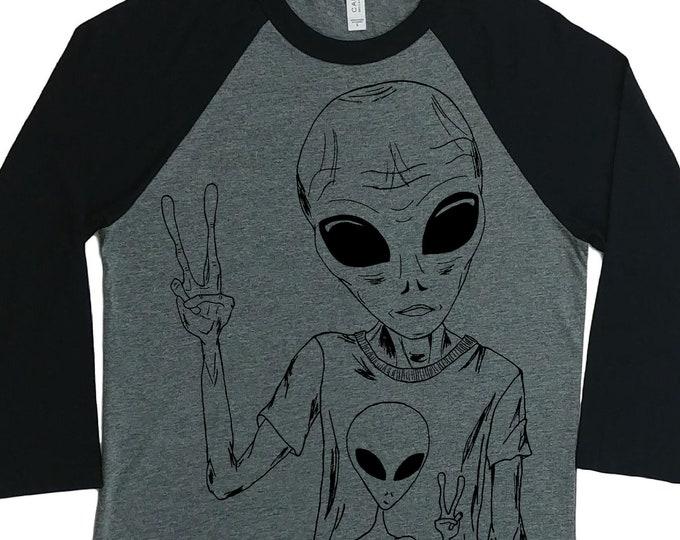 Womens Baseball Tee - Unisex Fit - Hipster Space Alien Shirt - Raglan Tees for Woman - Sci Fi Shirts - Outer Space Nerd Tee Shirts