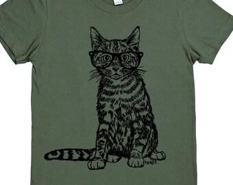 Womens TShirts - Hipster Cat Womens Tee - Cat Lady TShirts - Cute Tshirt - Gift for Women - Cool Tee Shirts - Womans Tees - Fashion TShirts