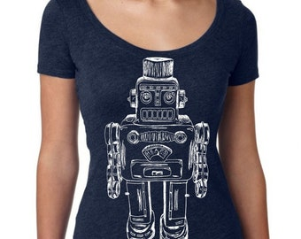 Womans Scoop Neck Shirt - Robot TShirt - Funny Graphic TShirts - Gift for Wife - Navy Triblend Tees