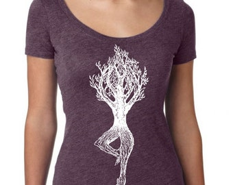 Womans Scoop Neck Shirt - Yoga Pose Shirt - Yoga Gift - Funny Graphic TShirts - Gift for Wife - Yoga Clothes