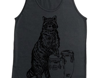 Tank Tops For Guys - Conga Raccoon Tank Top - Funny Tanks for Men - Cool Tanks - Music Shirt - Hipster Tank Top - Gray Tank - Drummer Shirt