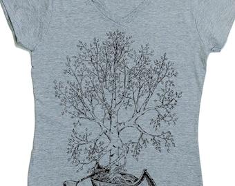 Canoeing Tshirts for Women - Canoe Tshirt - Womens V Neck T Shirts - Tree Shirt - Graphic Tshirt - Funny Tshirt for Women S M L XL 2XL