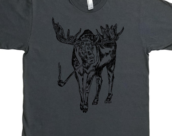 Mens Gift - Funny Mens T Shirt - Graphic Tee Men - Smoking Tshirt - Pot Tshirt - Charcoal Grey Printed Tee - Pipe Smoking Moose S M L XL 2XL