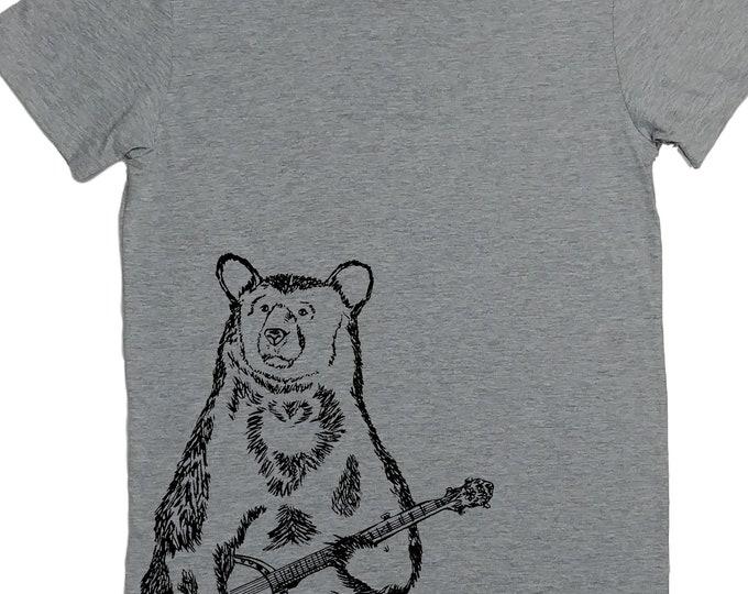 Tshirts for Women | American Apparel | Banjo Bear Womens Tshirt | Funny Tops for Women | Cool TShirt | Hipster Clothing | Trendy Clothes