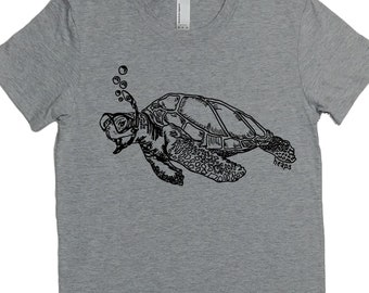 Womens TShirts - Sea Turtle Womens Tees - Cool TShirts - Nautical T Shirt - Grey Tshirts - Gift for Women - Best Friend Gift - Womens Tee