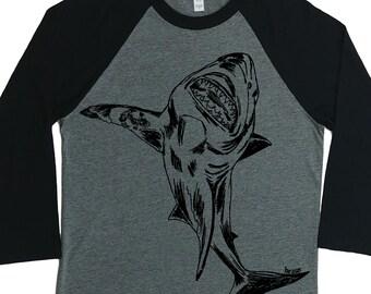 Womens Baseball TShirt - Unisex Fit - Raglan - Great White Shark Shirt - Baseball TShirt - Funny Graphic Tshirt - Tees Tops Hipster Clothing