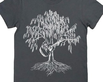 Womens T Shirt - Funny Womens T Shirts - Guitarist T Shirt - Hipster Clothing - Musician Tee - Willow Tree T Shirt - Gray T Shirt