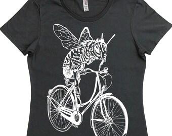 Womens T Shirt - Regular Fit Tee - Bee TShirt - Womans Graphic Tshirt - Cool Womens Tops - Trendy Printed Womens Tshirts - Cycling Tshirt