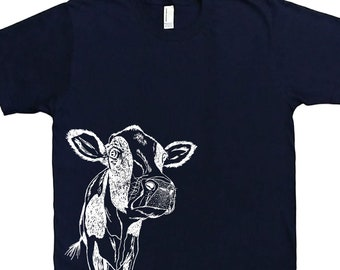 Mens T Shirt - Cow T Shirt - Animal Tee Shirts - Illistration Tees - Screen Print Mens Short Sleeve Shirt - Mens Cow Tee Shirt S M L XL XXL