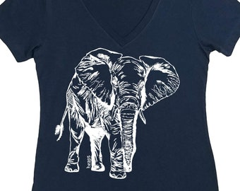 Graphic Tees for Women - Elephant T Shirt - Women Tee - Funny TShirts for Women - Africa TShirt - Musician TShirt - Travel - Gift for Wife