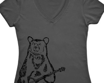 Womens V Neck T Shirts - Bear T Shirt - Womens BanjoTee - Funny TShirts - Hipster Tee Shirt - Gift for Women - Gift for Friend