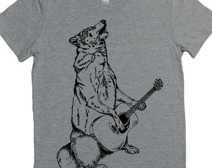 Graphic Tees for Women - Wolf Tshirt - Guitar Tshirt - Wolf Playing Guitar - Howling Wolf Shirt - Acoustic - Musician's Gift Idea