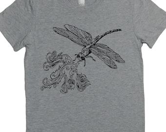 Womens TShirt - Fire Breathing Dragon Fly TShirt - Crew Neck Tee - Cute Tshirt - Nerdy T Shirt - Grey Womens Shirt -  Womens Short Sleeve