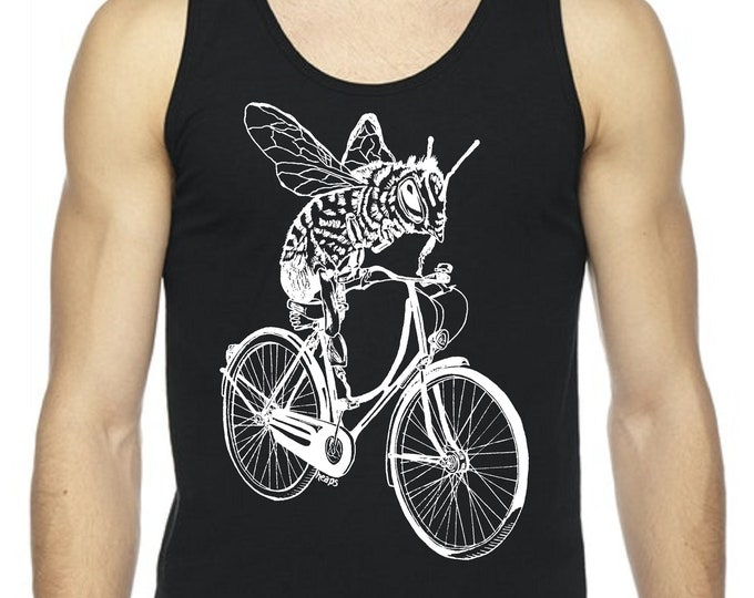 Tanks Tops Men Graphic Muscle Workout Exercise Workout Fitness Black Bee on a Bike Cycling