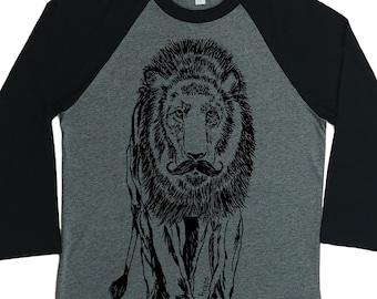 Baseball T Shirt - Unisex Fit - Raglan T Shirts for Women - Lion Shirt - Graphic Tee for Women - Womans Baseball Shirt - Womans TShirt