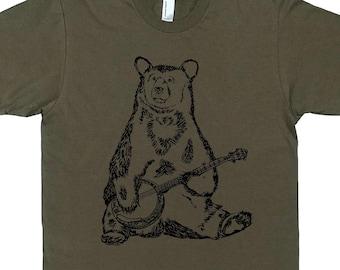 Tshirts Men - Banjo Bear Tee Shirt - Boyfriend Tshirt - Bear Tshirt Man - Mens Funny TShirts Man Gift Printed Tee Green Funny