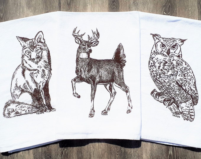 Woodland Animal Tea Towels - Set of 3 - Screen Printed Cotton - Absorbant Towels - Unique Birthday Christmas Mothers Day Gift - Brown Ink