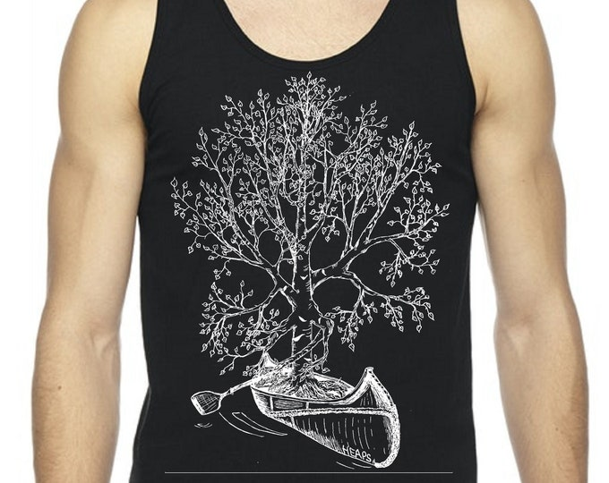 Black Tank Tops for Men Camping Gift for Him Man Gifts Nature Inspired Hipster Clothing Graphics Canoeing Shirt