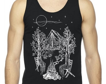 Black Tank Tops for Men Camping Gift for Him Man Gifts Nature Inspired Hipster Clothing Graphics