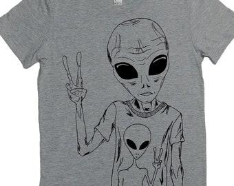 Womens Sci Fi TShirt - Alien Womens Tee - Space TShirts - Peace Sign Shirts - Hippy Tshirts - Womens Tee Shirt Best Friend Gift - Grey Tees