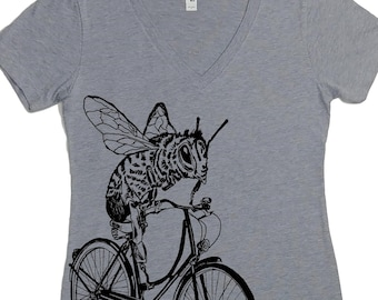 Graphic Tees for Women - Nature Inspired - Bee on a Bicycle Tshirt - Cyclist Gifts - Bee Lover Gifts - Funny Tshirt - Save the Bees Tshirt