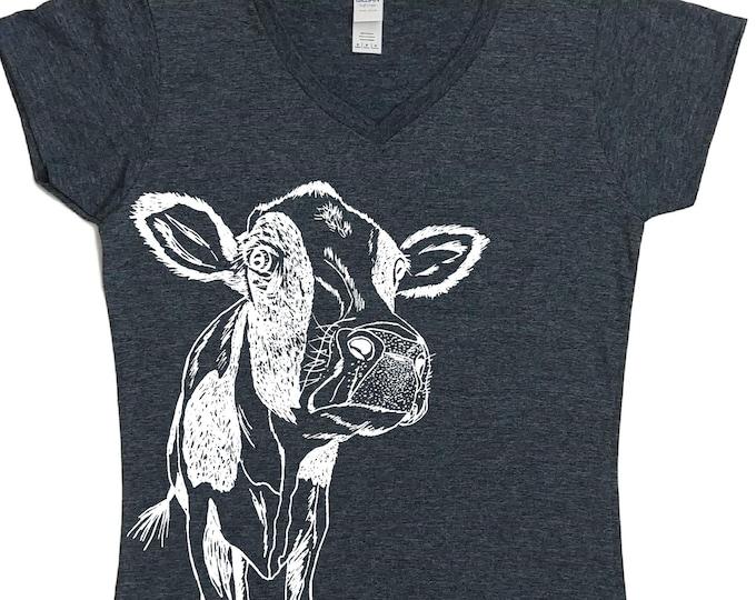 V Neck Tshirt Women | Cow T Shirt | Womens T Shirt  | Womens Graphic Tee | Funny Womens TShirts | Cow Clothing | Funny Tees for Women