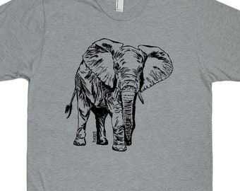 African Clothing for Men - Mens Elephant TShirt - Graphic Tees - Mens Gift - Cool Gifts - American Apparel - XXL Available