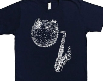 Mens T Shirt - Blow Fish Playing Saxohone T Shirt - Nautical Tees - Music Tees - Mens Short Sleeve TShirt - Mens Tee Shirts  S M L XL 2XL