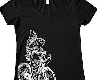 Tshirts Women - Womans Black TShirts - Fish on a Bike T Shirt - Nautical Tee - Bicycle Tshirt - Funny Graphic Hipster Clothing Gift for Wife