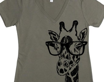 African Clothing for Women - Giraffe TShirt - Womens African Tee - Hipster Tee - Glasses Tshirt - Funny Graphic TShirt - Optometrist Gift