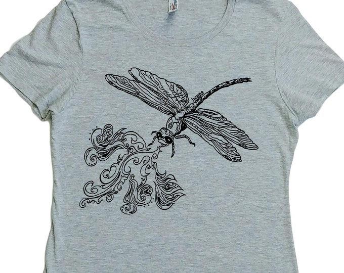 Graphic Womens TShirt - Regular Fit Tee - Dragonfly TShirt for Woman - Womans Graphic Tee - Hipster Clothing - Funny Fashion - Womans Top