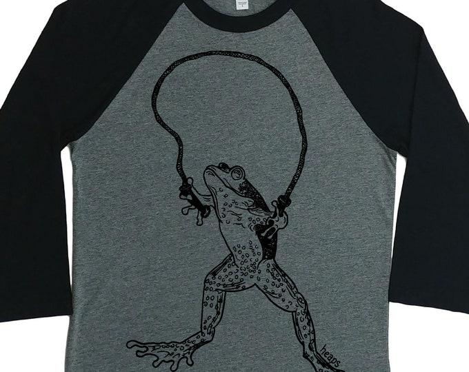 Womens Baseball TShirt - Unisex Fit - Raglan - Frog Shirt - Baseball T Shirt - Exercise Shirt - Funny Graphic Tshirt - Reptile Tshirts