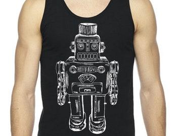 Mens Tank Top Robot Shirt Summer Beach Sleeveless Tops Muscle Workout Exercise Sleeveless Black